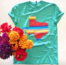 Teal Serape Texas Graphic Tee