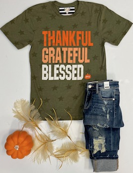 """Thankful, Grateful, Blessed"" Olive Graphic T-Shirt"