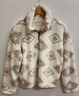 """That Cozy Life"" Plush Aztec Zipper Pullover"