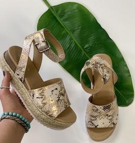 Metallic Python Espadrille Sandal