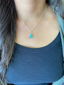 Genuine Turquoise Triangle Drop Necklace