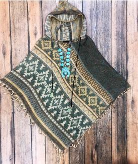 """Native Spirit"" Turquoise &Brown Fringe Poncho"
