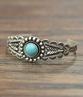 Natural Turquoise Stone Cuff Bracelet W/Arrow