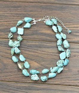 Double Strand Turquoise Chunk Necklace