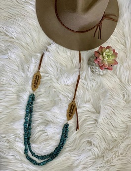 Turquoise Stone With Leather Feather Necklace