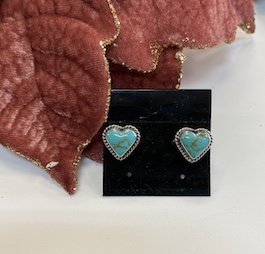 Genuine Turquoise Heart Studs