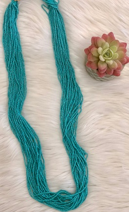 Turquoise Multi Strand Seed Bead Necklace