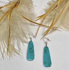 Genuine Turquoise Slab Earrings