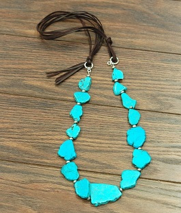 Turquoise Slab Stone Necklace On Leather