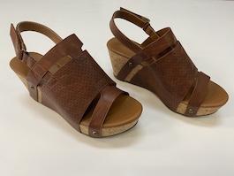 Brown 2 Tone Leather Like Wedge
