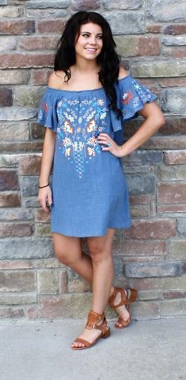 """""""Boardwalk Babe"""" Off Shoulder Embroidered Dress"""
