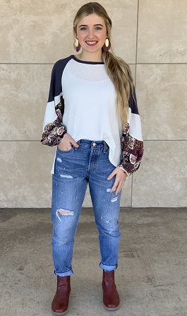 """""""Paisley"""" White Waffle Knit W/Floral Print Puff Sleeves"""