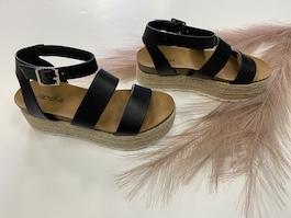Black Leather Like Espadrille Sandal