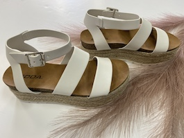 White Leather Like Espadrille Sandal
