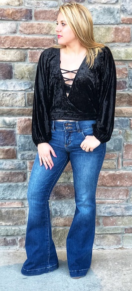 """Sure Thing"" Black Crushed Velvet Tie Top"