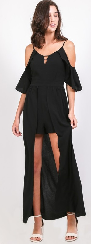 """Pick Me"" Black Maxi Romper Dress"