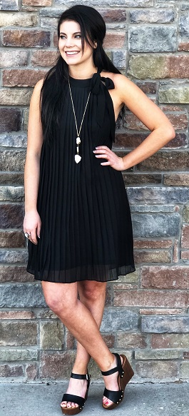 """""""Lady Luck"""" Black High Neck Pleated Dress"""