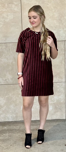 """Delicate Beauty"" Striped Crushed Velvet Dress"