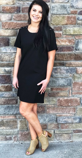 """Chelsey"" Short Sleeve Black Dress With Shoulder Detail"