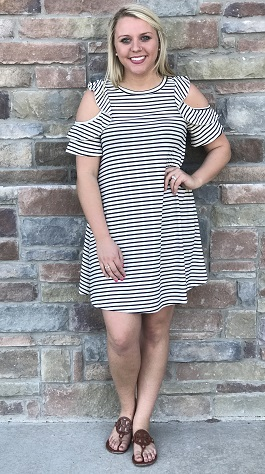 """Tuesday Morning"" Striped Cold Shoulder Dress"