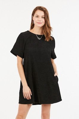 """Simple Chic"" Black Corduroy T-Shirt Style Dress"