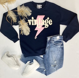 """Vintage"" Navy Pullover Sweatshirt"