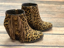 Leopard Fringe Concho Wedge Bootie