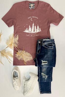 """""""Waymaker"""" Mauve Graphic T-Shirt"""