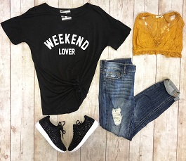 """Weekend Lover"" Black Graphic Tee"