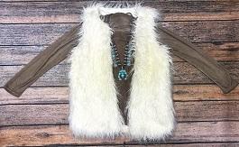 """""""Warm & Fuzzy"""" White Long Faux Fur Vest"""