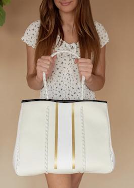 Cream With Gold Stripe Neoprene Bag