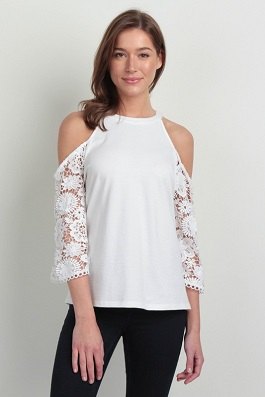 """Miss Ohio"" White Cold Shoulder Top With Crochet Detail Sleeves"