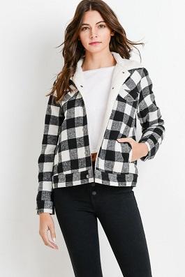 """""""Marlboro Lady"""" White/Black Plaid Fleece Lined Jacket"""