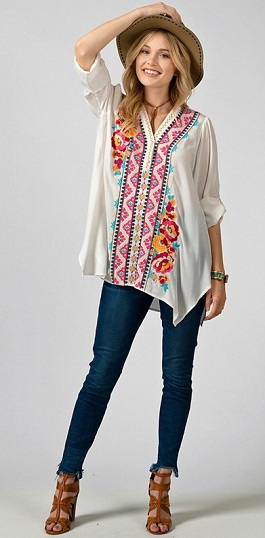 """Blooming Beautiful"" White Embroidered Tunic"