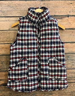 White Plaid Puffer Vest