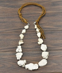 White Stone Slab Necklace On Leather