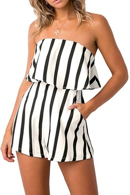 """Party Line"" White & Black Striped Strapless Romper"