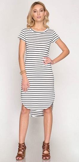 """Walk The Line"" White Striped Midi Dress W/ Rounded Hemline"
