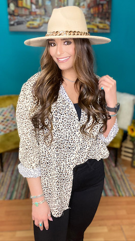 """""""Wild About You"""" Leopard Button Down Tunic"""