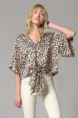 """Wild Side""Leopard Print V Neck Satin Tie Front Top"