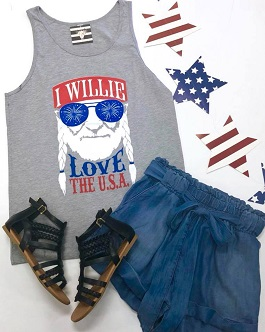 """Willie Love The USA"" Printed Tank"