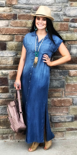 """Winslow"" Medium Wash Denim Button Down Maxi Dress"