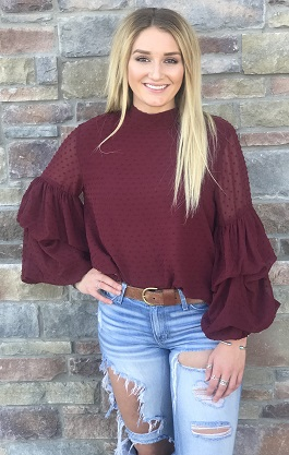 """Tobi"" Burgundy Bubble Sleeve Clipsot Blouse"