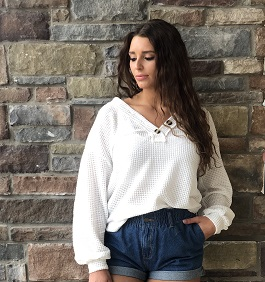 """Casually Cool"" Long Sleeve Thermal Waffle Top With Button Detail"