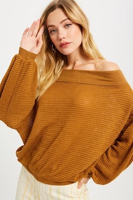 """Cute & Capable"" Camel Open Shoulder Waffle Top"