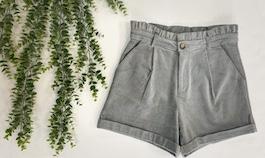 Ruffled Pleated Corduroy Shorts