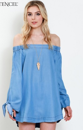 """Basic Beauty"" Denim Tencel Off Shoulder Top"
