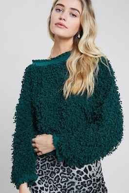 """Christmas Cutie"" Hunter Green Textured Mock Neck Sweater"