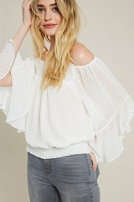 """Free Fallin"" Ivory Smocked Sheer Off The Shoulder Top"