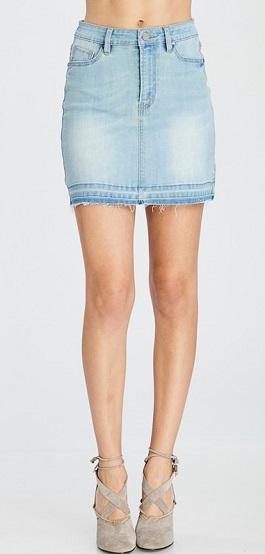 Light Wash Denim Distressed Mini Skirt
